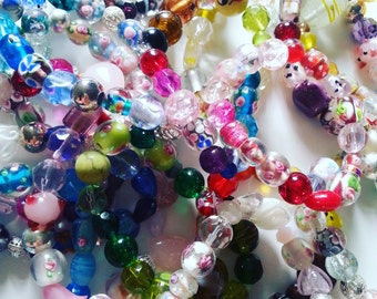 Lucky dip, 4 bracelets, Indian glass, lamp work glass, ceramic beads, mix,by NewellsJewels On etsy