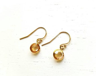 Tiny Pebble Earrings - golden round swarovski crystal gem & gold filled - simple wedding jewelry or for everyday - adenandclaire