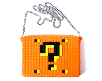 Orange crossbody purse with question mark made with LEGO® bricks FREE SHIPPING handbag trending fashion gift party wedding