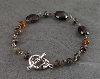 Petrol tourmaline bracelet, handmade sterling silver bracelet-OOAK