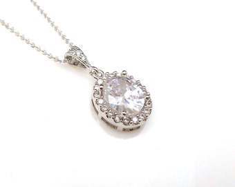 bridal wedding necklace jewelry christmas gift party bridesmaid Sterling silver chain with AAA cubic zirconia luxury oval drop pendant