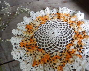 Vintage Doily Romantic Cottage Chic Decor Crochet Autumn Handmade Golden Tumeric Kitchen Home Decor