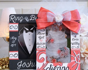Personalized Wedding Frame Set, Ring Bearer, Flower Girl
