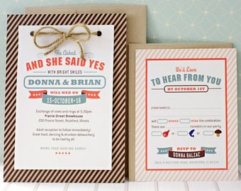 Say Yes: eco friendly invitation, stripes & hemp string, modern chic, informal, kraft paper, wedding proposal [DEPOSIT]