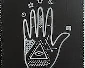 "Magic Hand Series # with Triangle Eye Original Painting 5""x5"""