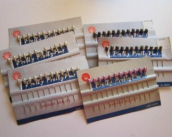 6 cards vintage pear head pins - Crown Fox PRETTY PRETTY PINS - corsage pins