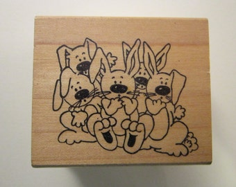 rubber stamp - BUNNIES - rabbits