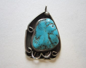 vintage handmade turquoise and silver pendant - artist signed RTB