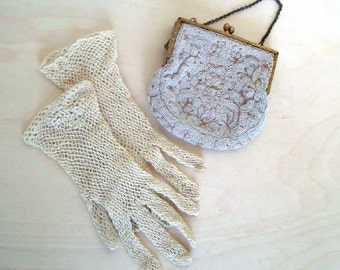 Vintage Purse and Gloves. Made in Belgium. White Beaded Bag Crochet Gloves Tea Party Shabby Chic Vintage Bridal Vintage Weddings