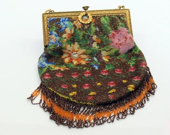 Antique Micro Beaded Flapper Purse Fall Tone Flower Garden Scene 1910s 1920s Ladies Fashions