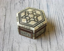 Six Sided Star Mother-of-Pearl and Wood Inlay Box, Red Velvet Interior