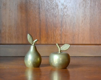 vintage brass pear and apple bells