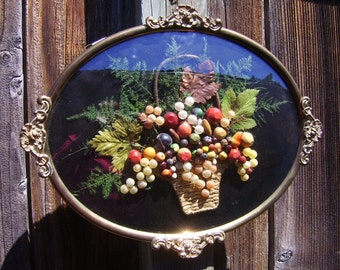 Antique Brass Floral Convex Glass Leaves Fruit Ferns Picture Wall Hanging