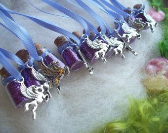 Pegasus Party Favors, Magical Purple Winged Horse, Enchanting Pixie Mist Sparkling Glitter,  Mystical Magical Sparkle Necklace