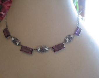 Vintage Czech Purple Glass and Hand Painted Pansy Open Back Necklace