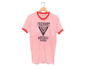 Vintage 70's Fremont Basketball Classic Heather Red Ringer Tri-Blend T-shirt - Large (OS-TS-2)