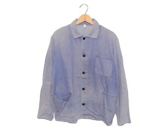Vintage European Light Blue (Purple) Weathered Cotton Button Up Chore Coat - Medium (os-ewj-8)