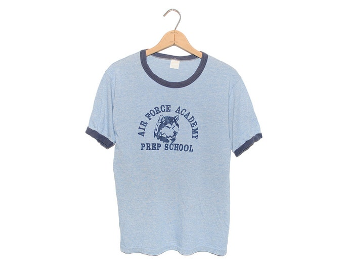Vintage 70's Huskie Air Force Academy Prep School Heather Blue Ringer Tri-Blend T-shirt - Large (OS-TS-3)