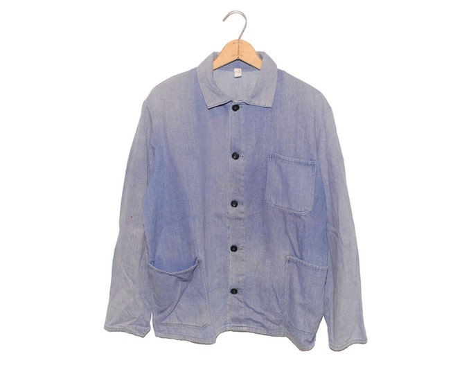 Vintage European Light Blue (Purple) Weathered Cotton Button Up Chore Coat - Medium (os-ewj-8)