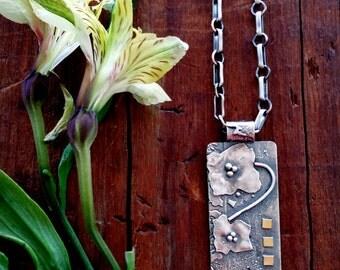 Unique Handmade Silver Jewelry, Sterling Silver,18k Gold, Sterling Silver pendant,Rustic Jewelry,Mixed Metals,Metalsmith