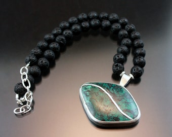 Turquoise Necklace, Lava Beads, Silver Jewelry, Silver and Turquoise Jewelry, Inlay