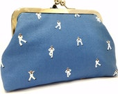 clutch purse - hello sailor - 6 inch metal frame clutch purse - medium purse- sailor- blue - clutch- purse - kiss lock clutch
