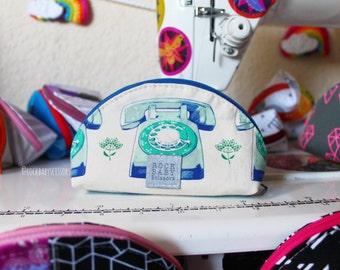 Trinket aqua Telephone Dumpling pouch | Zipper pouch | Travel pouch | Small zipper pouch