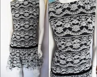 Vintage 60s Black White Lace Mod Ruffle Drop Waist Mini Dress.Small.Bust 36.