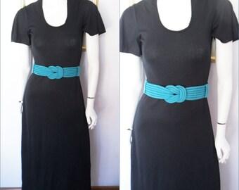 Vtg.70s Black Flutter Sleeve Disco Maxi Dress with Teal belt.S/M.Bust 36-38.Waist 30-38.