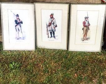 American Revolution Soldier Prints / R. Desvarreux Lerpenteur / Frames / Collectables / Set of Three
