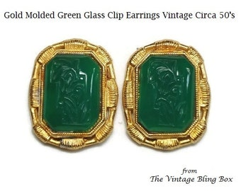 50s Gold Green Emerald Glass Floral Clip Earrings with Glass Cameo Center Bezel Set  - Vintage Circa 50's Costume Jewelry