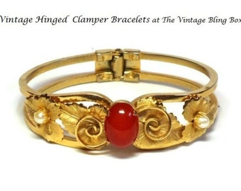 50s Gold Vine Leaves Clamper Bracelet with Prong Set Amber Cabochon Center & Pearls in Grape Leaf Motif - Vintage 50s Costume Jewelry