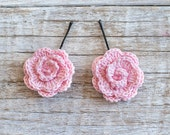 Pink crochet Flower bobby pin, Hair Clip, Flower Hair Accessories, Crochet Flowers, Flower Hair Pin, girls hair accessories, Set of 2