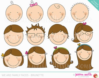 We are Family Faces -Brunette- Cute Digital Clipart for Invitations, Card Design, Scrapbooking, Web Design, Stick Figure Faces Clip Art