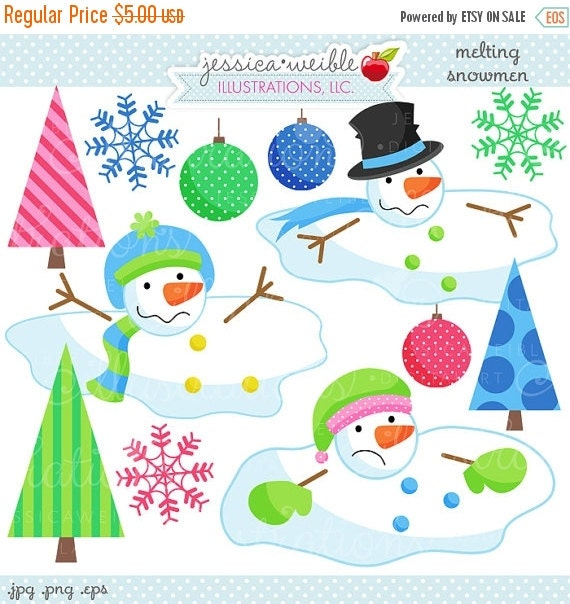 SALE Melting Snowmen Cute Digital Christmas Clipart - Commercial Use OK - Christmas Graphics - Melted Snowman Clipart