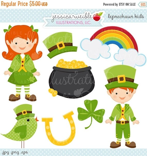 ON SALE Leprechaun Kids Cute Digital Clipart - Commercial Use OK - St. Patricks Day Graphics, St. Patricks Day Clipart