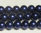 12mm Dark Navy Glass Pearls - 1 strand