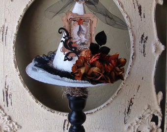 White witch hat Halloween table decor Victorian style Good witch Black white elegant Halloween decor victorian witch altered art mixed media