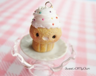 Happy Vanilla Cupcake Charm with Rainbow Drops - Kawaii Cute Jewelry - Handmade in the UK with Polymer Clay