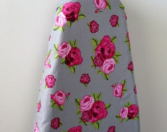 Ironing Board Cover - beautiful bright pink roses on silver grey.