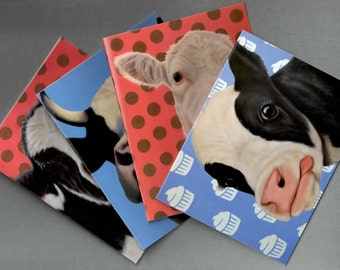 Cow Note Cards - 4-Pack - Assorted Cow Note Cards - Cow Art - Proceeds Benefit Animal Charities