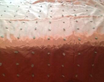 Vintage Pink Blue Knotted Tied Quilt Bedspread Coverlet Blanket