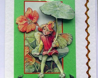 Fairy Hand Crafted 3D Decoupage Card, With Love (1585), Birthday Card, Fairy Card, Layered Card, Spring, Green, Nasturtium Flower