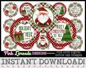 "Cozy Christmas Plaid - INSTANT DOWNLOAD 1"" Bottle Cap Images 4x6 - 990"