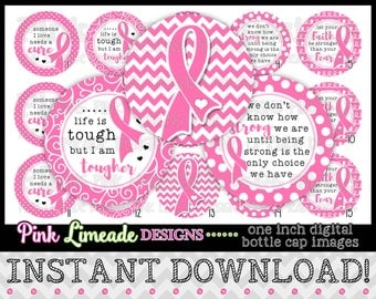 "Awareness Ribbons - Pink - INSTANT DOWNLOAD 1"" Bottle Cap Images 4x6 - 958"