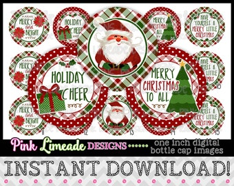 """Cozy Christmas Plaid - INSTANT DOWNLOAD 1"""" Bottle Cap Images 4x6 - 990"""