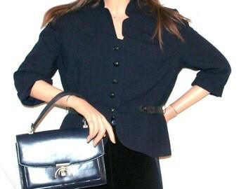 1940s Spectator Ltd/Dark Blue Lightweight Wool/Vintage Peplum Jacket