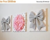 "July Sale Baby Girl Nursery - Wall Decor - Large Gray Bows and Light Pink Dahlia on Polka Dot 12 x 12"" Canvases Pink and Gray Baby Nursery"