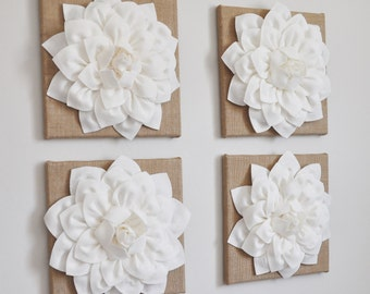 Burlap - Home Decor - New Home Gift - Burlap Wall Hangings - Home Housewarming Gift - Burlap Decor - White Dahlia Flowers on Burlap Canvas