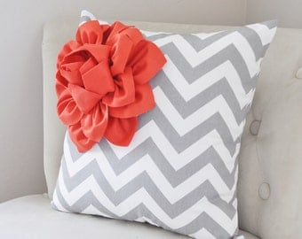 Pillows . Coral Corner Dahlia on Gray and White Zigzag Bed Pillow 14 X 14 -Chevron Flower Pillow- Zig Zag Pillows Decorative Pillows for her